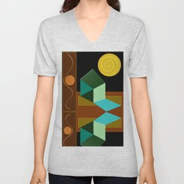 Modern Geometric Textured Abstract Unisex V-Neck