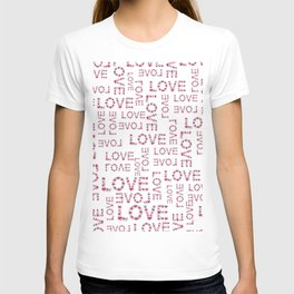 Modern pink teal love floral typography romantic valentines T-shirt