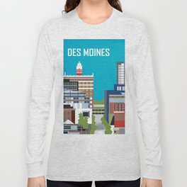 Des Moines, Iowa - Skyline Illustration by Loose Petals Long Sleeve T-shirt