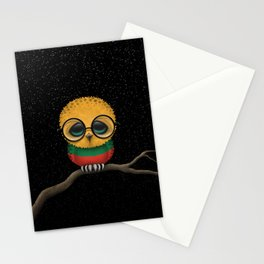 Baby Owl with Glasses and Lithuanian Flag Stationery Cards