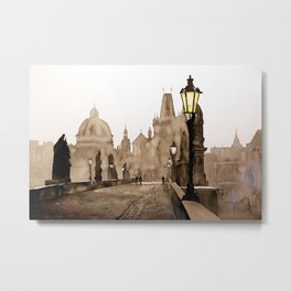 Charles Bridge in medieval city of Prague- Czech Republic. Metal Print