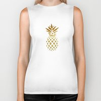 golden Biker Tanks featuring Golden Pineapple by Pati Designs