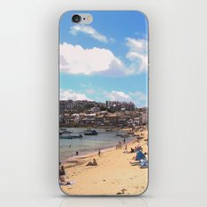 British Beach scene illustration, St Ives, English holiday resort iPhone Skin