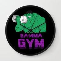gym Wall Clocks featuring gamma gym by Louis Roskosch