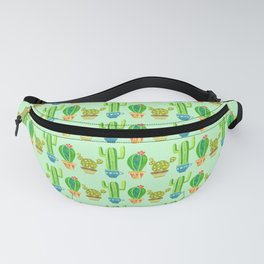 Green cactus in cute pots Fanny Pack