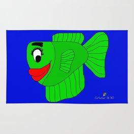 Friendly Green Fish Rug