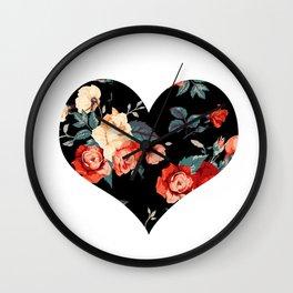 Rose Noir Heart Wall Clock