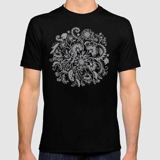 Jacobean Inspired Light on Dark Grey Floral Doodle T-shirt