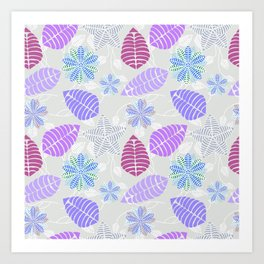 Purple, Pink, Blue, Green and Gray Leaf Floral Pattern Art Print