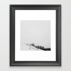 Ski Hill in Black and White Framed Art Print