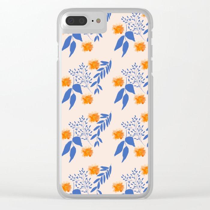 Floral Pattern Indigo Orange Blue Clear iPhone Case