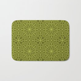 Ethnic line lace stars mosaic olive color Bath Mat