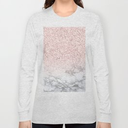 Pretty Rosegold Marble Sparkle Long Sleeve T-shirt