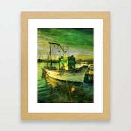 The Green Fisher Boat Framed Art Print