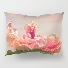 isolated hibiscus in bloom on tecture background Pillow Sham