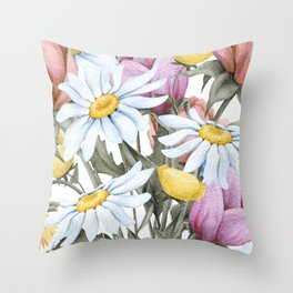 Summer Floral Watercolour Bouquet Throw Pillow