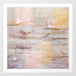 Golden Pink Birds Art Print