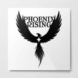 PHOENIX RISING black with star center Metal Print