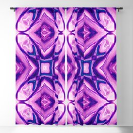 Purple Blue Shapes Flowers Abstract Art Decorative Blackout Curtain