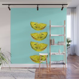 Lemon Slices Turquoise Wall Mural