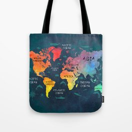 world map 49 color Tote Bag