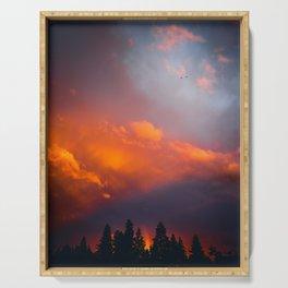 Bend Oregon: sunset & rainbow Serving Tray