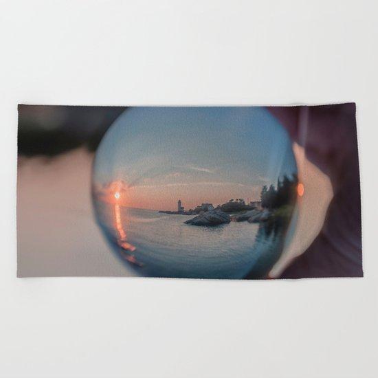 Annisquam sunset though a Crystal Ball Beach Towel