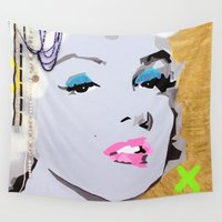 lips Wall Tapestries featuring Lips by Paola Gonzalez