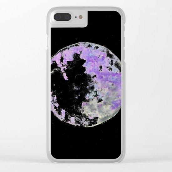 purple moon 02 Clear iPhone Case