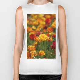Yellow and orange ranunculus flower Biker Tank