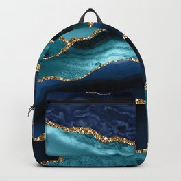 Ocean Blue Mermaid Marble Backpack