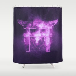 Shinto symbol. Japan Gate. Torii gate. Abstract night sky background. Shower Curtain