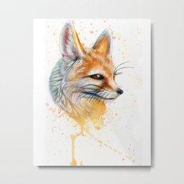 Splatter Paint Fennec Fox Metal Print