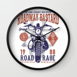 Roadway Bastard Road Rage Motorcycle Wall Clock