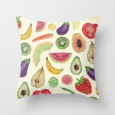 Froot and Veg Throw Pillow
