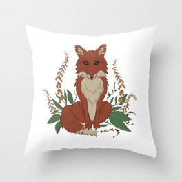 Fox with Foxgloves Vignette Throw Pillow