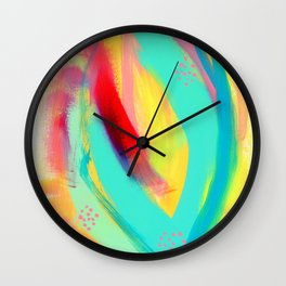 Be Proud, Be OK colorful abstract painting mint green baby pink emerald green blue yellow modern Wall Clock