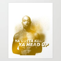 tupac Art Prints featuring Tupac Head Up by F. J. Lara