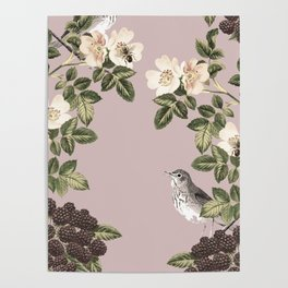 Birds and the Bees Pink Berry Poster