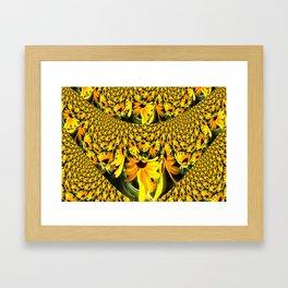 Sunflower Lace Fractal Framed Art Print