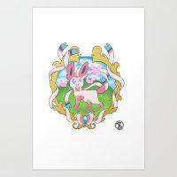 sylveon Art Prints featuring sylveon by XenonNero