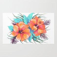 TROPICAL FLOWER {orange hibiscus}  Rug