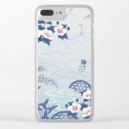 Elegant Light Blue Japanese Flower Garden Clear iPhone Case