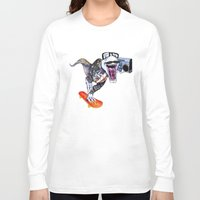 trex Long Sleeve T-shirts featuring TRex Hipster Dufus by Designer R.M.D