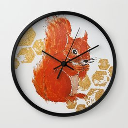 Squirrel Red & Gold Wall Clock