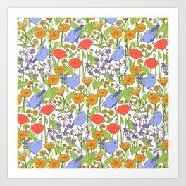 Birds and Wild Blooms Art Print