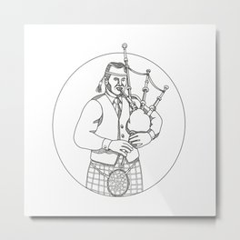 Scottish Bagpiper Doodle Art Metal Print