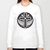 religious Long Sleeve T-shirts featuring Black And White Cross Religious Symbol by ArtOnWear