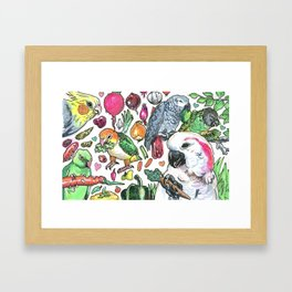 Parrots with Veggies Framed Art Print