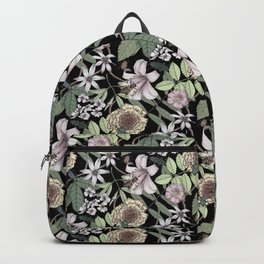 lush floral pattern with bee and beetles II Backpack